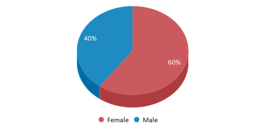This chart display gender of Evergreen Institute Of Excellence