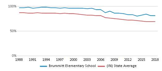 This chart display the percentage of White students in Brummitt Elementary School and the percentage of White public school students in Indiana by year, with the latest 2017-18 school year data.